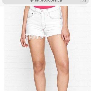 Algolde denim fringed shorts (rainbow thread!)